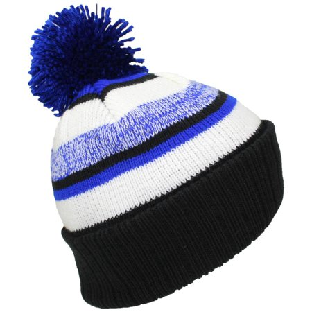 Best Winter Hats Quality Striped Variegated Cuffed Beanie W Pom (L XL) -  Black Royal Blue White - Walmart.com 31d31bdc14b