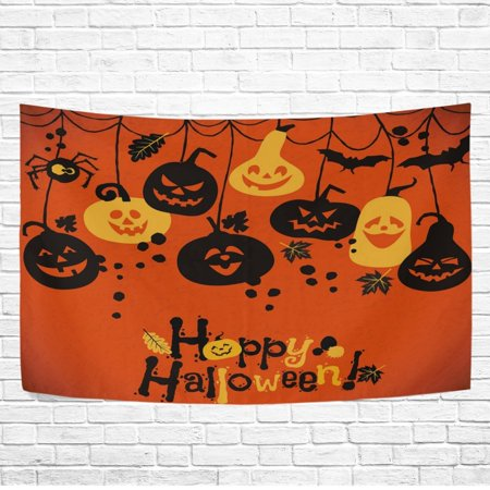 POPCreation Home Decor Collection, Happy Pumpkin Face Halloween Painting Wall Art Polyester Tapestry Wall Hanging Art 40x60 inches](Easy Face Paintings For Halloween)