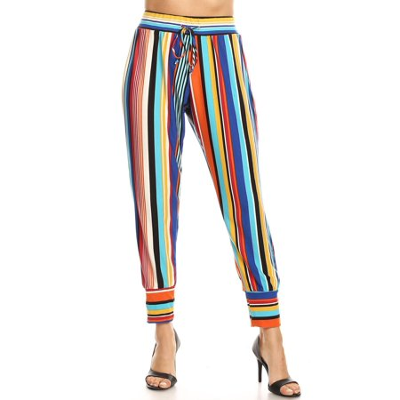 NEW MOA Women's Multi-Colored Striped Ease In To Comfort Harlem Pants/Made in USA](Harlem Nights Style Clothing)