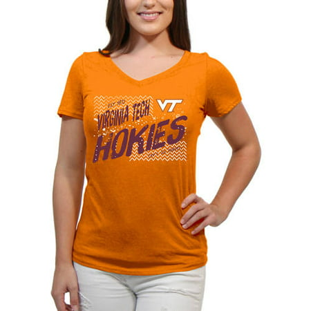 Virginia Tech Hokies Scatter Doodle Women'S/Juniors Team Short Sleeve V Neck Tee Shirt