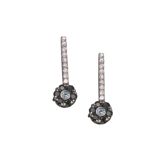 CZ EAR212 C. Z.  GEM SAPPHIRE AND C. Z.  RHODIUM PLATED - . 925 - STERLING SILVER EARRINGS
