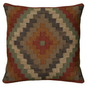 """Rizzy Home Decorative Poly Filled Throw Pillow Medallion 18""""X18"""" Rust"""