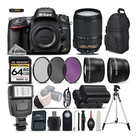 Nikon D610 DSLR Camera + Nikon 18-140mm VR Lens + Flash + 0.43x Wide Angle Lens + 2.2x Telephoto Lens + 64GB Class 10 Memory Card + UV-CPL-FLD Filters + Wireless Remote - International (Nikon D610 Best Price Usa)