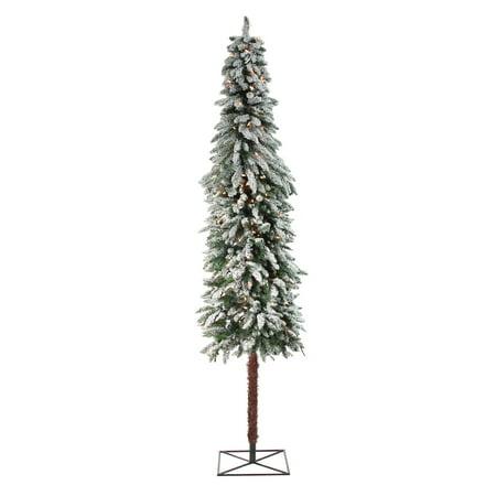 7' illuminée floqués Alpine arbre de Noël artificiel - lumières claires - image 2 de 2