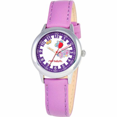 Red Balloon Butterflies Girls' Stainless Steel Watch, Purple Strap
