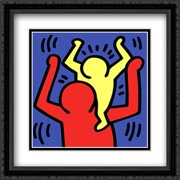 Untitled, 1987 (baby on shoulders) 2x Matted 24x24 Large Black Ornate Framed Art Print by Keith Haring