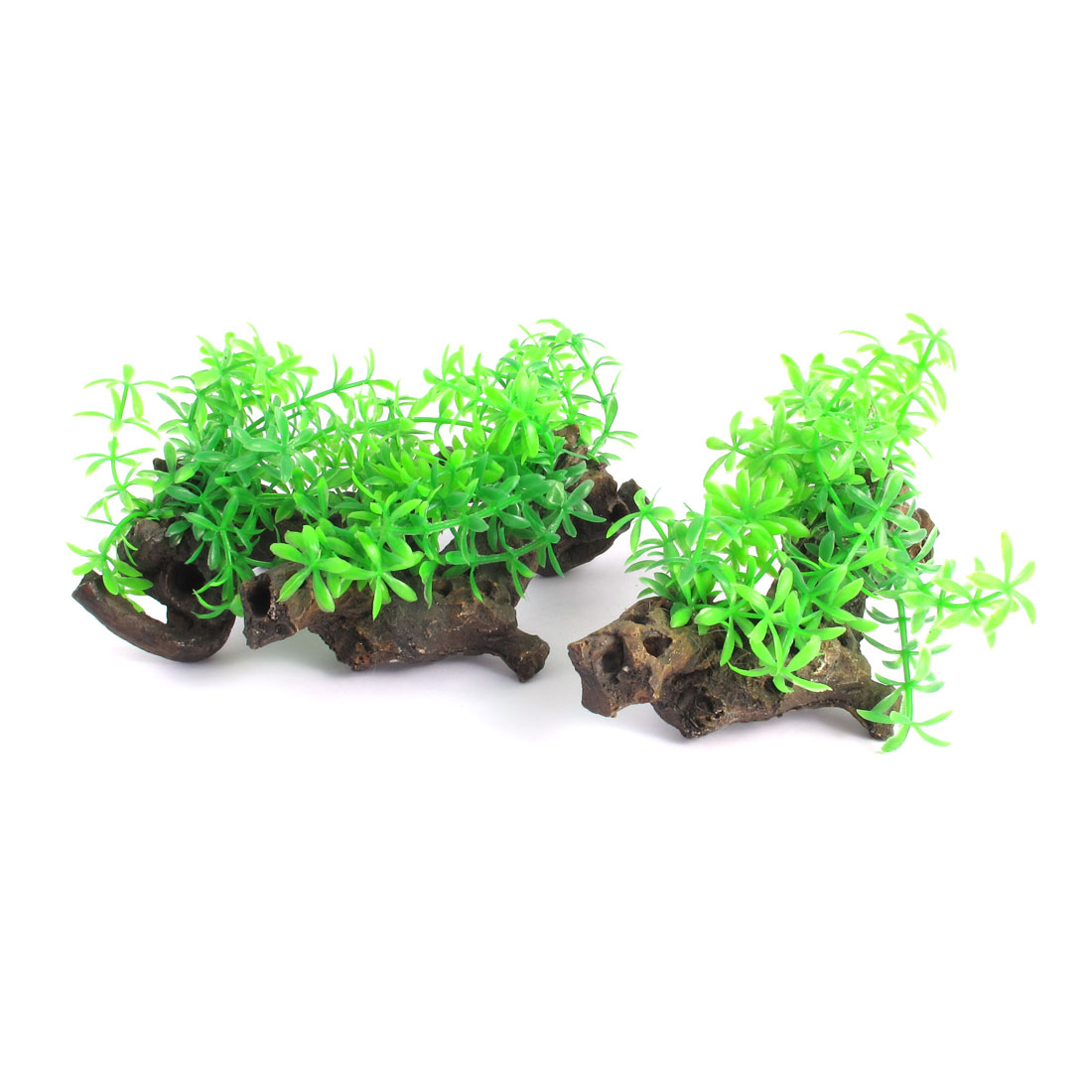 Unique Bargains 3Pcs Aquarium Decaying Trunk Driftwood Tree Wood Grass Ornament Green