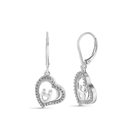 White Diamond Accent Sterling Silver Mother and Child Heart Dangling Earrings