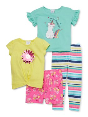 Forever Me Girls 4-12 Flip Sequin Tie Front Tee, Flutter Sleeve Top, Short and Printed Leggings, Mix And Match 4-Piece Outfit Set
