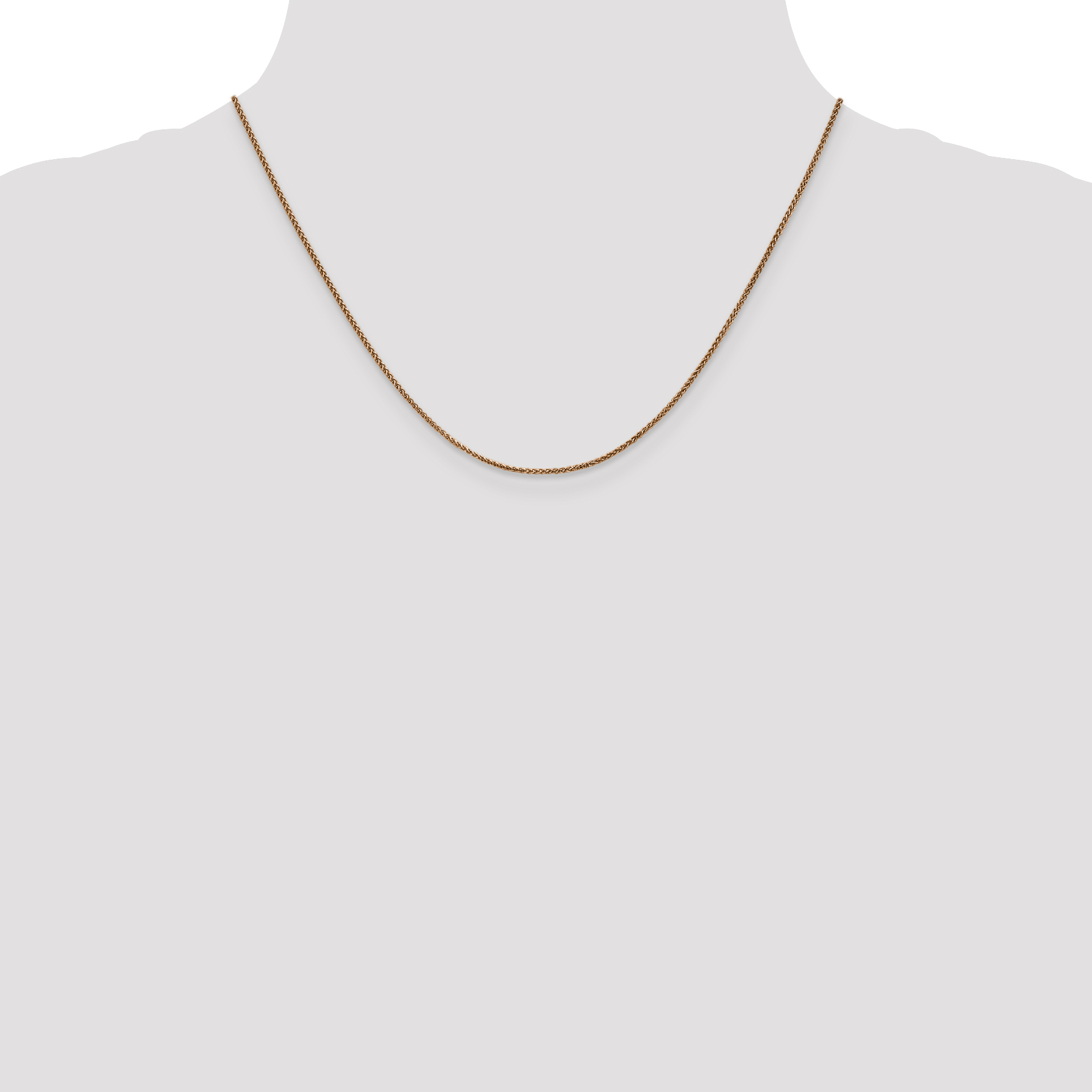 14k Rose Gold 1.2mm Spiga Chain Necklace 18 Inch Pendant Charm Wheat Spiga/wheat Fine Jewelry Gifts For Women For Her - image 1 of 5