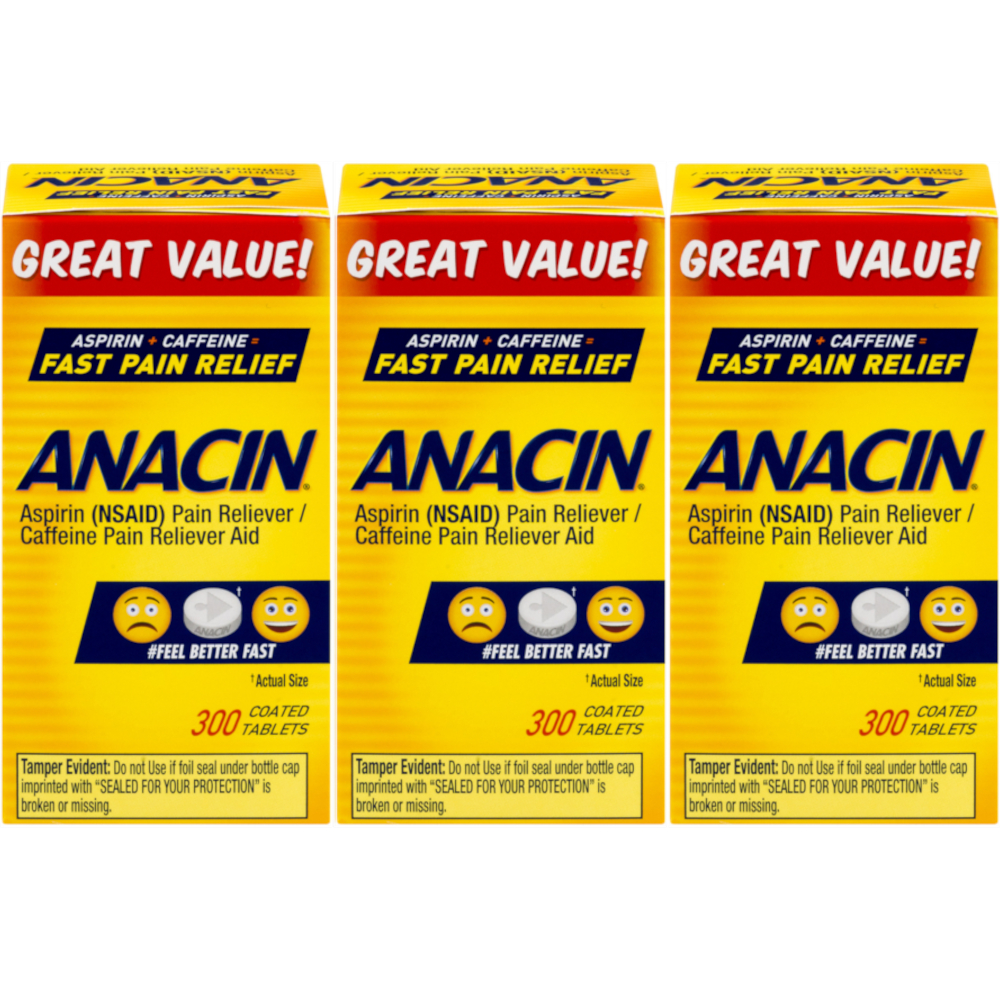 3 Pack Anacin Fast Pain Relief Aspirin & Caffeine Pain Reliever 300 Tablets Each