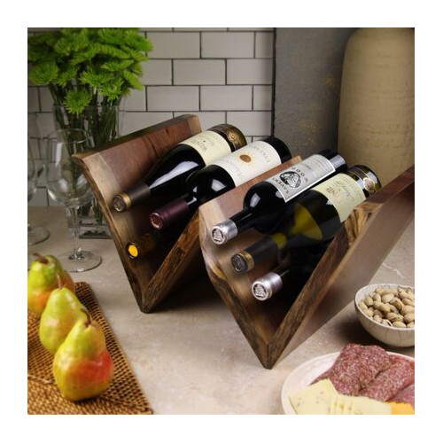 Martins Homewares 85000D Artisan Wood with Wine Rack, Black Walnut - 10.75 x 20.5 x 14 in.