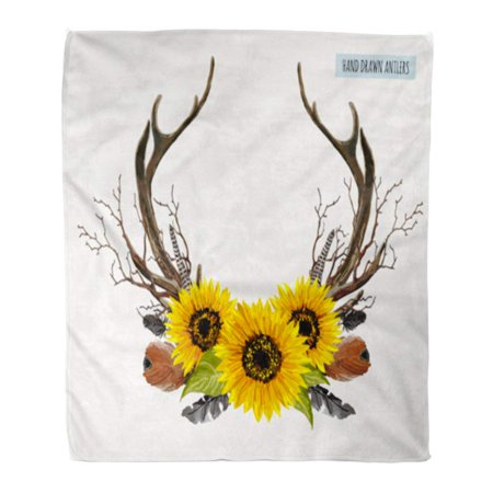 LADDKE Throw Blanket Warm Cozy Print Flannel Beautiful of Horns Boho Chic Deer Antler Sunflowers Branches Feathers Comfortable Soft for Bed Sofa and Couch 50x60 Inches