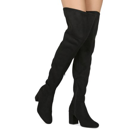 Low Heel Thigh High Boot - New Women Wild Diva Geller-02 Faux Suede Thigh High Low Block Heel Riding Boot