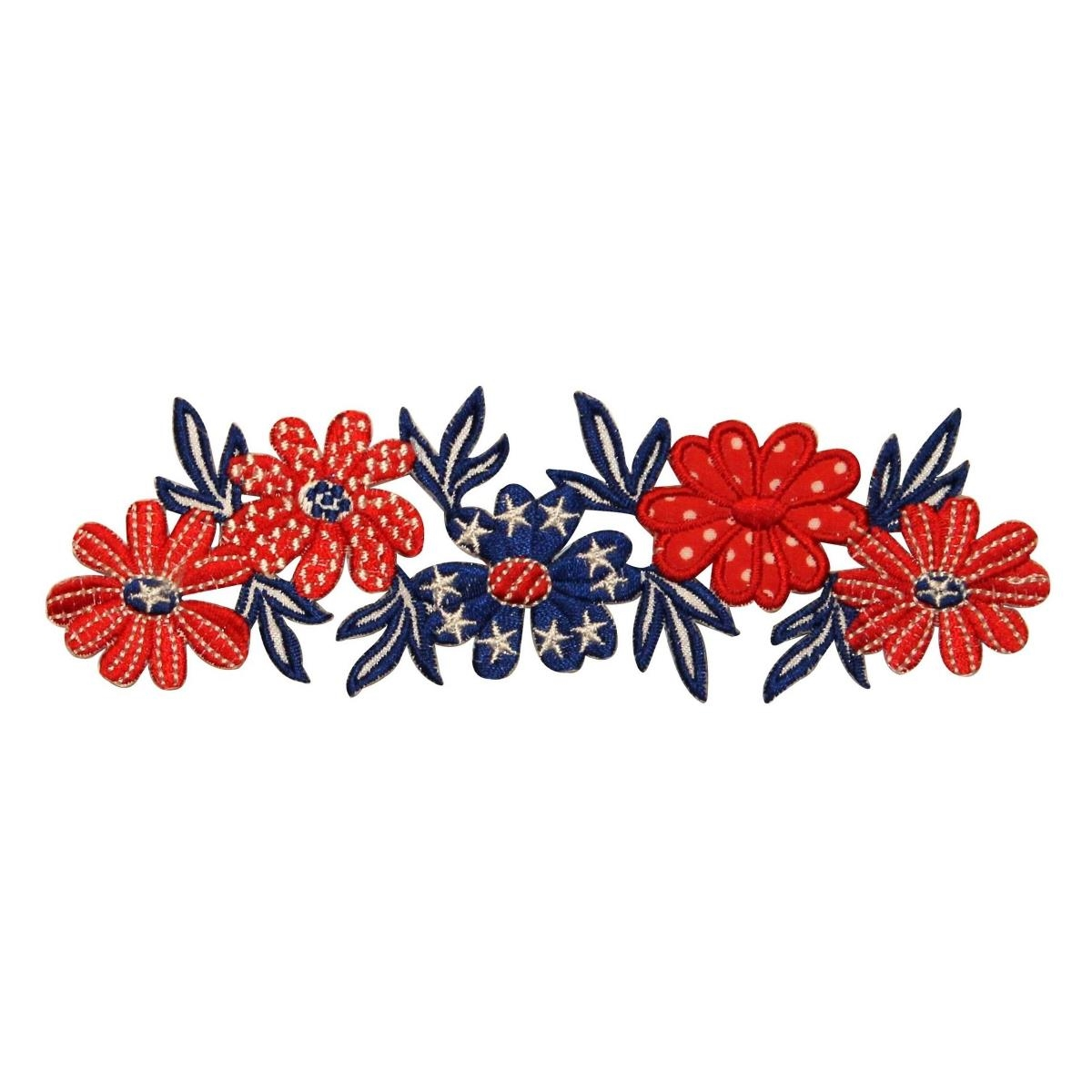 ID 1085Z American Flowers Band Patch Patriotic Craft Embroidered IronOn Applique