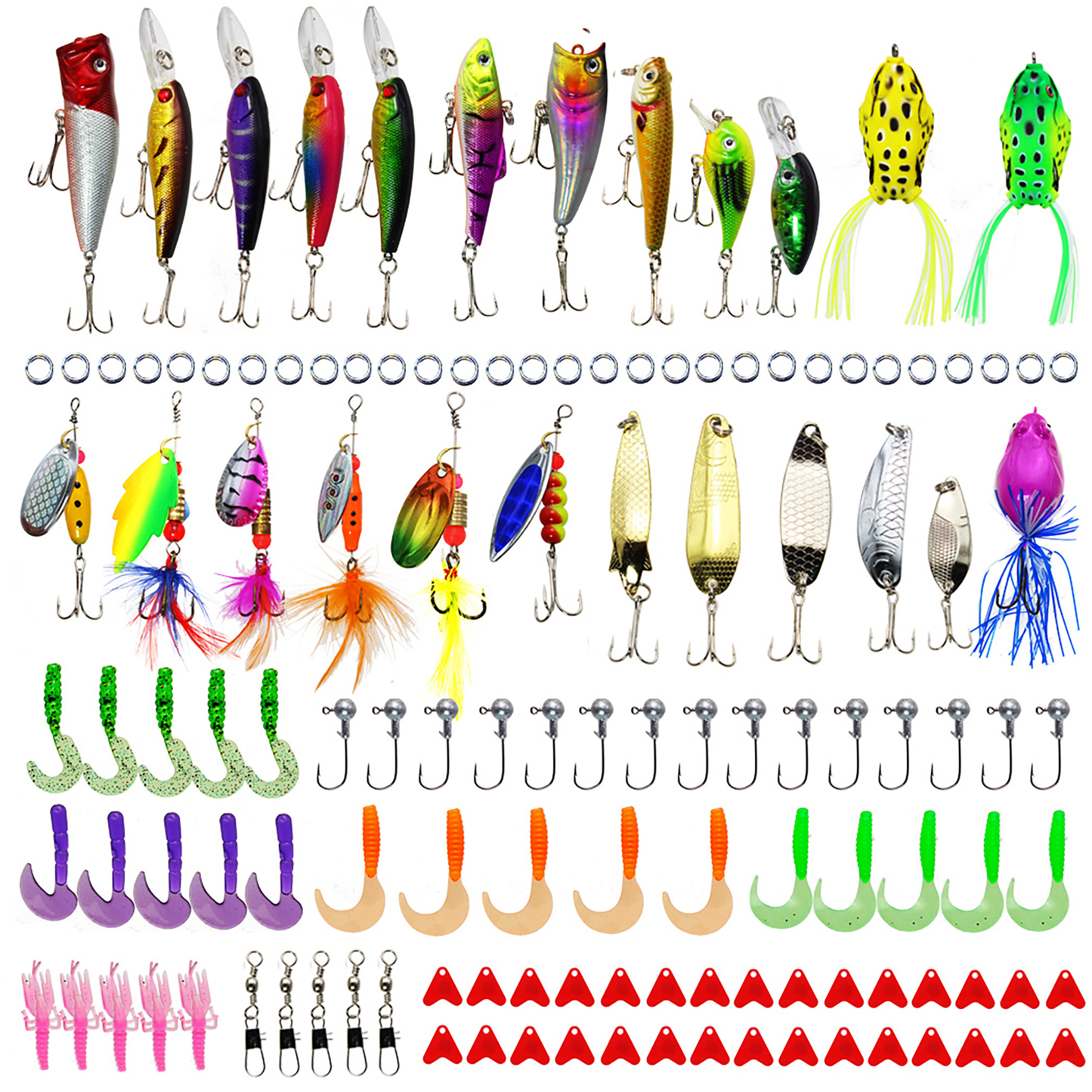 LotFancy 129 PCS Fishing Lures Set with Tackle Box, Include Frog Minnow Popper Pencil Crank Spoon Spinner Maggot Shrimp Baits Swivels for Freshwater Trout Bass Salmon