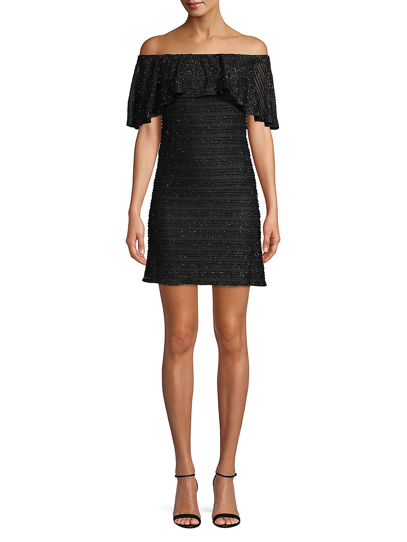 Off-the-Shoulder Glitter Mini Dress