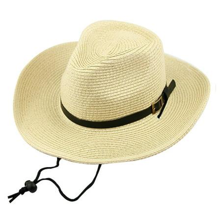 Coxeer Cowboy Sun Hat UV Protection Beach Cowboy Hat Wide Brim Hat Cowboy Straw Hat Western Cowboy Hat for Men