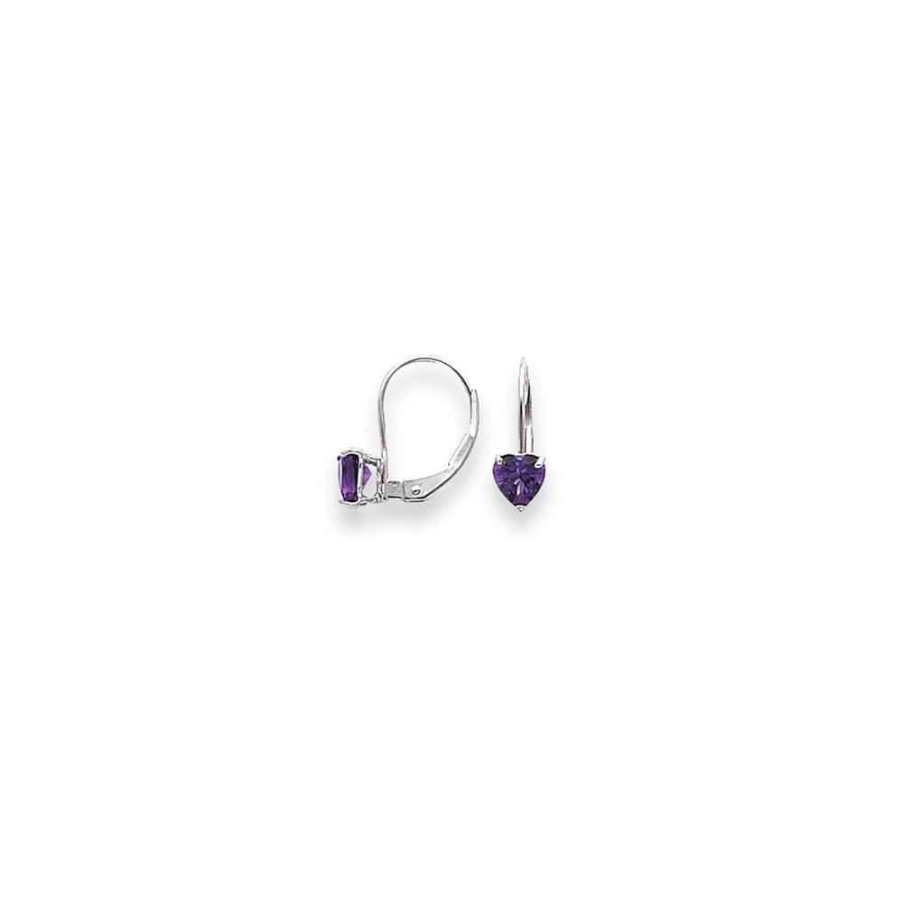 14k White Gold 0.6IN Long 5mm Heart Amethyst Earrings