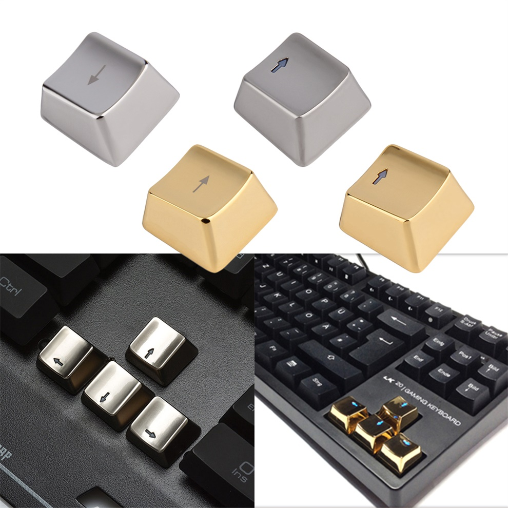Cool Metal Zinc Up Down Left Right 4 Key Caps Mechanical Keycap Keyset in Siliver~~