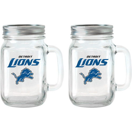 NFL 16 oz Detroit Lions Glass Jar with Lid and Handle, 2pk