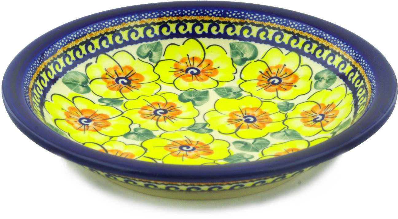 Polish Pottery 9-inch Pasta Bowl (Lemon Poppies Theme) Signature UNIKAT Hand Painted in Boleslawiec, Poland +... by Zaklady Ceramiczne