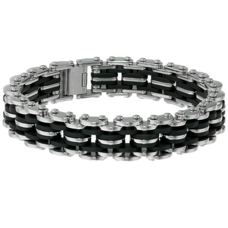 BIG Jewelry Co Stainless Steel and Black Rubber Men's Bracelet