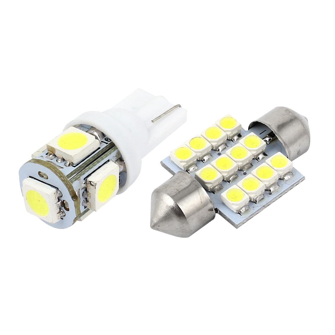 10 Pcs White LED T10 Festoon Light Interior Package Kit for Infiniti QX56 QX80