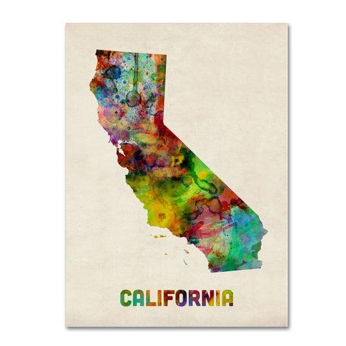 """Trademark Fine Art """"California Map"""" Canvas Wall Art by Michael Tompsett"""