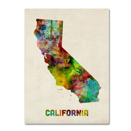 Trademark Fine Art California Map Canvas Wall Art By Michael