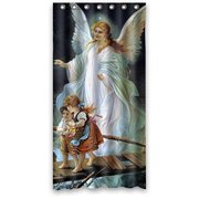 HelloDecor Guardian Angel and Children Crosing Bridge Shower Curtain Polyester Fabric Bathroom Decorative Curtain Size 60x72 Inches