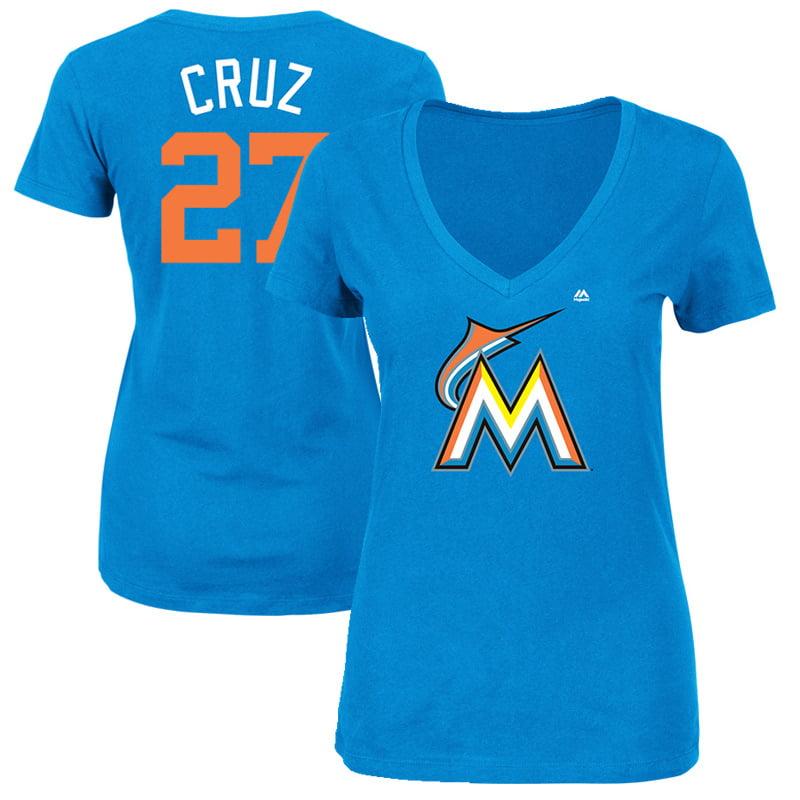 "Giancarlo Stanton ""Cruz"" Miami Marlins Majestic Women's 2017 Players Weekend Name & Number T-Shirt - Blue"