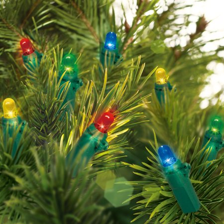 Holiday Time Battery Operated Led Mini Light Set Green Wire Multi Bulbs 20 Count