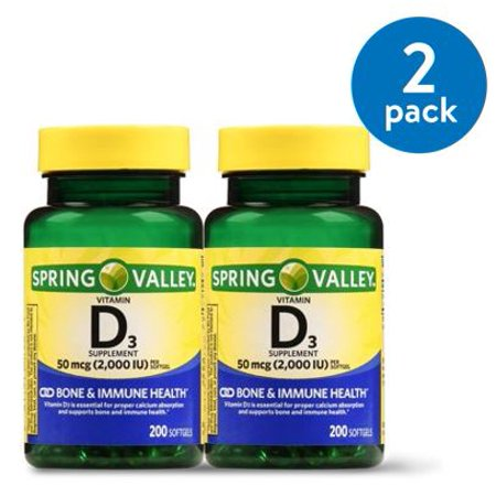 (2 Pack) Spring Valley Vitamin D3 Softgels, 2000 IU, 200 Ct, 2