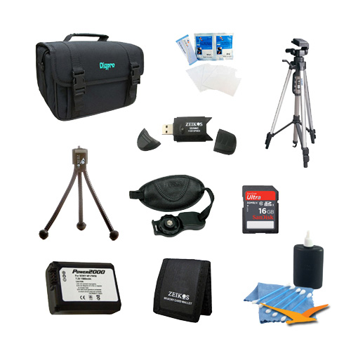 HDR-CX230 HDR-CX200 HDR-CX675//B HDR-CX190 HDR-CX210 HDR-CX220 HDR-CX455//B NP-FV50 Battery Kit 8 pc Kit Deluxe Lens Cleaning Kit Bag Table-top Tripod Sony Handycam Camcorder FDR-AX53 HDR-CX290