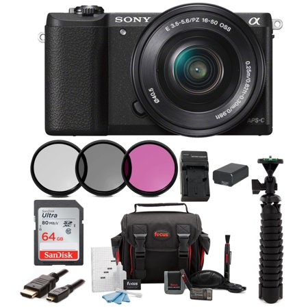 Sony Alpha a5100 Mirrorless Digital Camera with 16-50mm Lens and 64GB (Sony A5100 16 50mm Mirrorless Digital Camera)