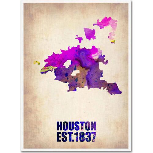 "Trademark Fine Art ""Houston Watercolor Map"" Canvas Art by Naxart"