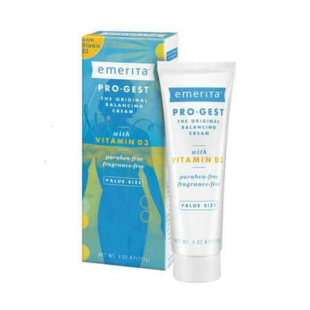Emerita Pro-Gest Balancing Cream with Vitamin D3 | USP Progesterone Cream from Wild Yam for Optimal Balance at Midlife | 4 oz Pro Gest Progesterone Cream