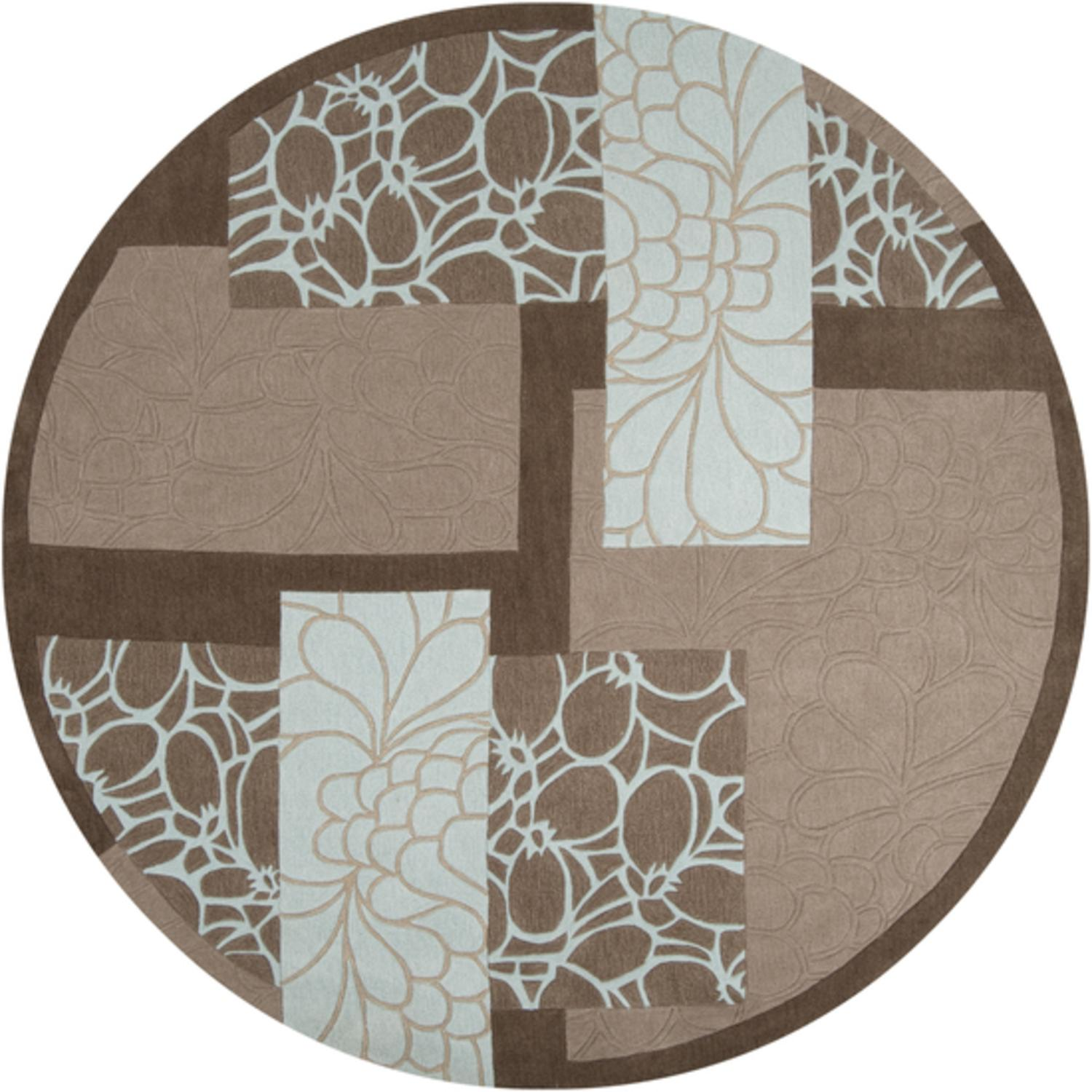 8' Fiori Brown, Ivory and Sand Hand Tufted Round Polyester Area Throw Rug