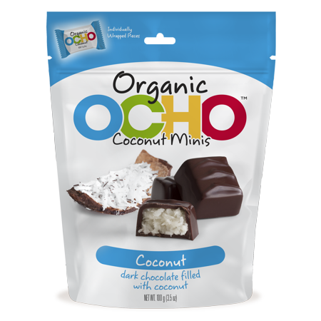 Chocolate Organic Candy Bar (Ocho, Mini Organic Coconut Dark Chocolate Covered Candy Bar, 3.5)