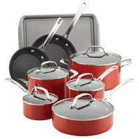 Circulon Genesis Aluminum Nonstick 13-Piece Cookware Set, Red