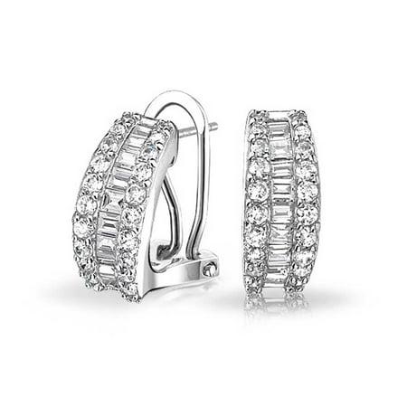 Baguette CZ Half Hoop Omega Back Earrings Sterling Silver