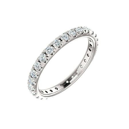14k White Gold 7/8 Ct Diamond French-Set Anniversary Wedding Eternity Band - Size 5.5