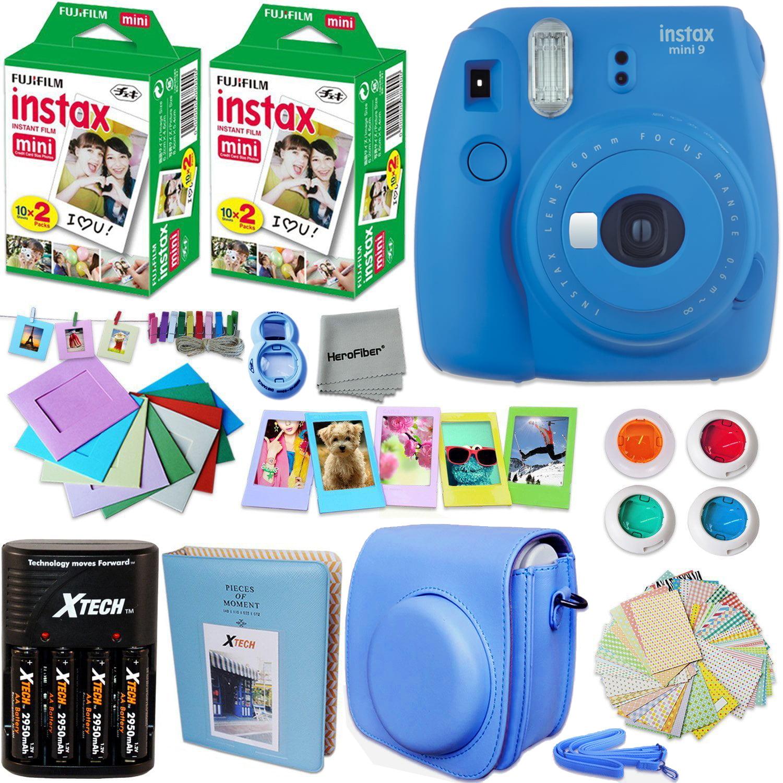 FujiFilm Instax Mini 9 Camera DARK BLUE + Accessories KIT for Fujifilm Instax Mini 9 Camera includes: 40 Instax Film + Custom Case + 4 AA Rechargeable Batteries + Assorted Frames + Photo Album + MORE