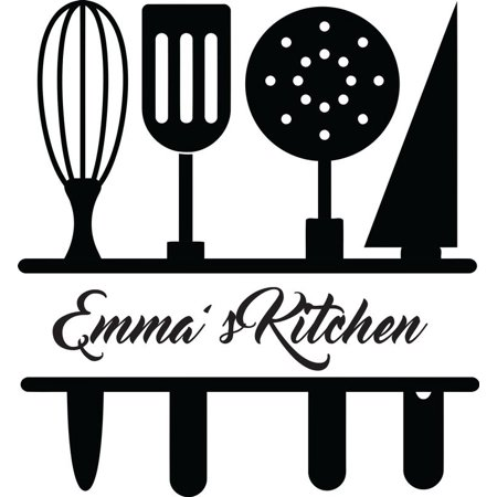 Personalized Custom Wedding Stickers (Personalized Name Vinyl Decal Sticker Custom Initial Wall Personalization Home Decor Kitchen Chef Utensils Cooking Serving Spoons Gadget Set 12 Inches X 12 Inches)
