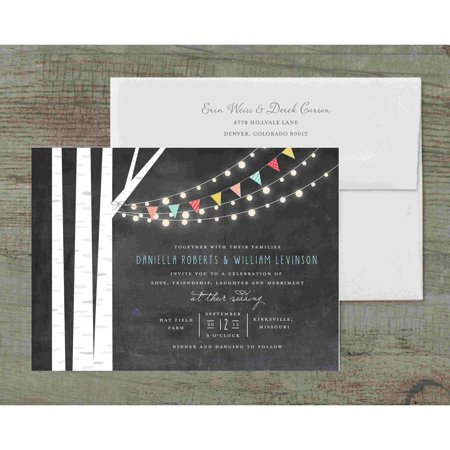 Black And White Wedding Invitations (Birch Tree and Lights Deluxe Wedding)