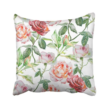 Red Bud Blossom (ARTJIA Green Flora With Watercolor Roses Hand Drawn Red Peony Cute Flower Beauty Blossom Bud Pillowcase Pillow Cover 20x20)