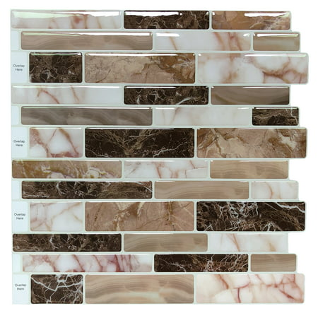 10 Sheets Peel and Stick Tile Backsplash for Kitchen in Marble