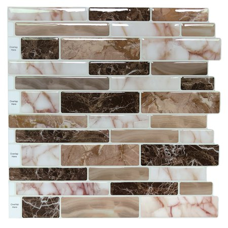 10 Sheets Peel and Stick Tile Backsplash for Kitchen in Marble (Best Tile For Kitchen Backsplash)