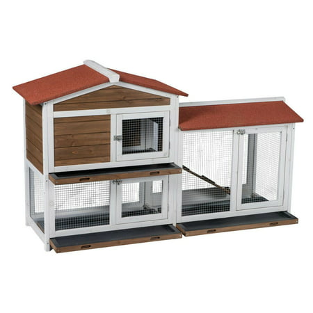 Two Floors Wood Outdoor Indoor Roof Waterproof Bunny Hutch Rabbit Cage Pet House ()